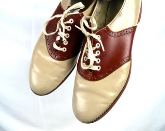 Vintage Cover Girl Oxford Saddle Shoes  -  Size 8 A