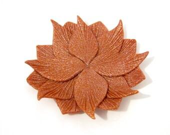 Rust Orange Glitter Flower Trinket Dish - Floral Mandala - Shallow Ring Dish - 4 inch Diameter
