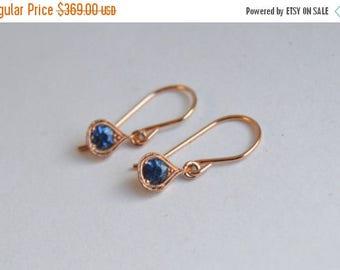 SALE Ceylon Sapphire Earrings, Rose Gold Dangly Earrings, 14 kt Gold Earrings, Sapphire Earrings, Blue Sapphire Earrings, September Birthsto