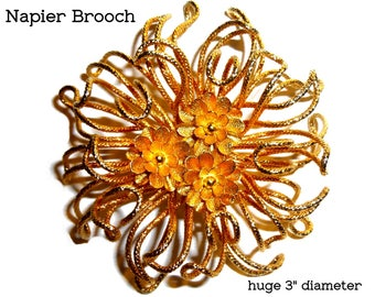 Huge Napier Brooch. Amazing Modernist Over the Top Abstract Flower Pin. Avant Garde Corsage. Circa 1970s. Gold Tone. Three Inch Diameter.