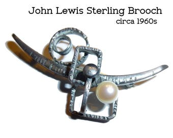 Sterling & Pearl Brooch. Vintage John Lewis Modernist Pin.  Two Inches Long.Sterling Silver 1970s Modernism.
