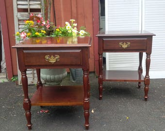 NIGHTSTANDS Pair of Vintage Cottage Spindle Style Bedside Tables Custom PAINT to ORDER Poppy Cottage Painted Furniture