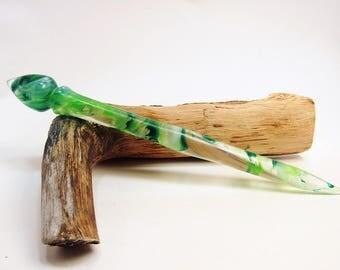 Acrylic Turned Hair Stick, Emerald Apple Mist, Hair Accessories, Hair Jewerly, Hair Toy, Hair Pin, Custom Color No 257