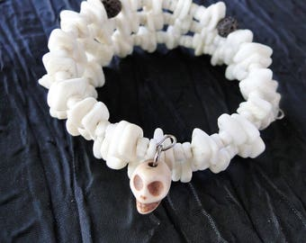 Wire Beaded Wrap Diffuser Bracelet with White Shells and Skull Charm