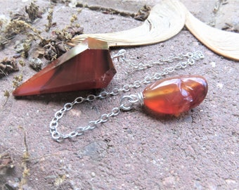 Carnelian Pendulum, Sterling Chain, Divination Pendulum, Divination Tool, Spiritual Gifts