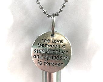 "Personal Cremation Urn ""The Love Between a Grandmother & Grandson is Forever""  With Velvet Pouch, 24"" Ball Chain Necklace and Fill Kit"