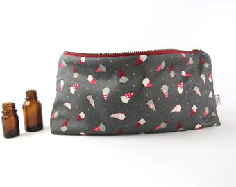 Large Essential Oil Bag - Gnome  - 22 bottles - cosmetic bag zipper pouch essential oil bag