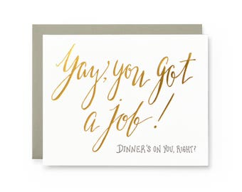 Yay Job - letterpress card