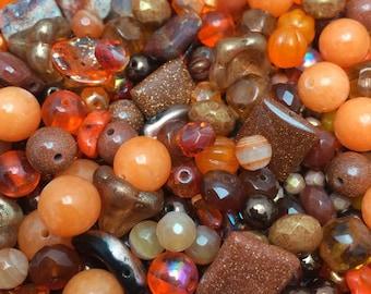 Orange Crush Carnelian, Jasper, Jade Plus More Semi-Precious Gemstone and Czech Glass Mix