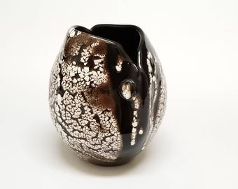 Black, White, Brown Split Top Vase -  Natural Earth Texture by Vicki Gardner Pottery