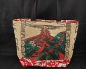 Ready to Ship - Large Tote - Kona Coffee Recycled Tote Bag - Hawaii Volcano - Pele