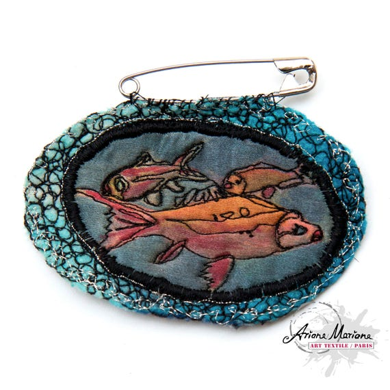 Collectible Art Pin Orange Gold Fishes Textile Brooch