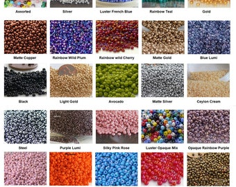 11/0 Czech Seed Beads 10-Grams Ur Pick Gold Silver Copper Red Blue Pink Purple Yellow Black Cream White Satin Bronze Assorted Luster Mix