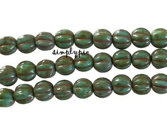 Turquoise Picasso Czech Glass Beads 5mm Fluted 50 Pcs Corrugated Round Melon