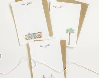 Charleston Cards, Stationery, Rainbow Row, Ravenel Bridge, Palm Tree, Personal Stationery, Hey Y'all, Cute Cards, Charleston SC Notecard Set