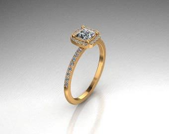 Elegant 14k rose, yellow or white gold half carat princess cut halo engagement ring.