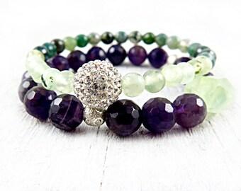 Amethyst Bracelet, Gemstone Bracelet, Pave Bracelet, Phrenite Bracelet, Moss Agate, Purple and Green Jewelry