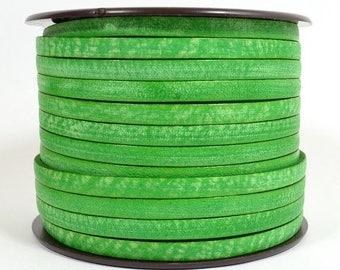 Summer Sale - 25% off 5mm Flat Vintage Leather - Green - 10FV-9 - Choose Your Length