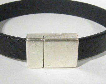 25% Off Smooth Magnetic Clasps for 10mm Flat Leather - Antique Silver - 10FCL-G9133 - Choose Your Quantity