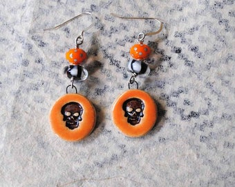 Halloween Earrings, Skull Earrings, Spooky Earrings, Striped Earrings, Day of the Dead Earrings, Polka Dot Earrings, Orange Black Earrings