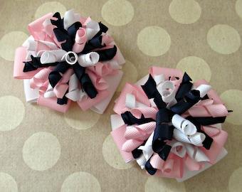 Girls Pinwheel and Corker Bows- Navy White Pink- Pigtail Bows- Baby Bows- Toddler Bows- Korker Bows- Hair Bows