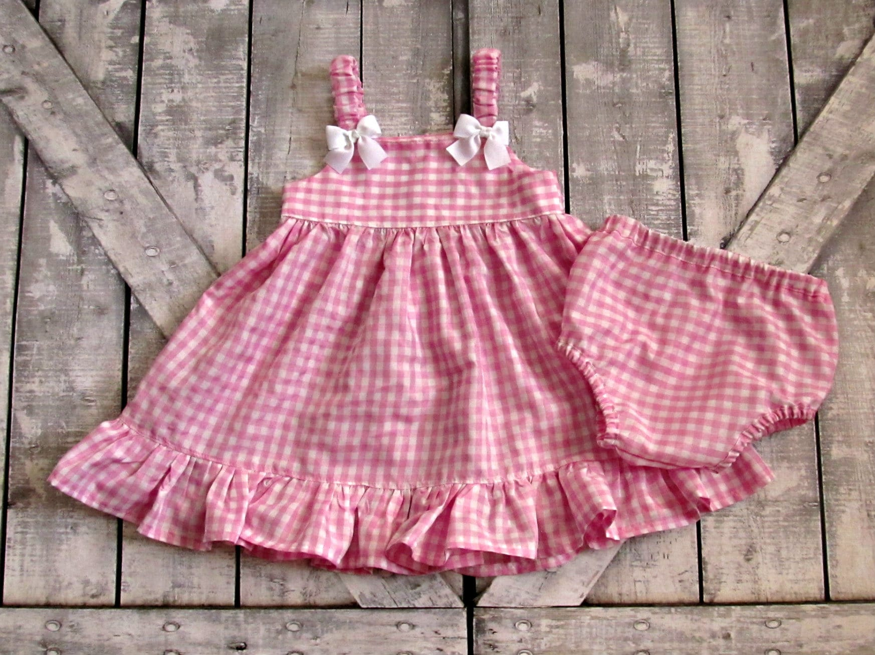 Girls Pink Gingham Dress Baby Girl Dress Toddler Dress Sundress