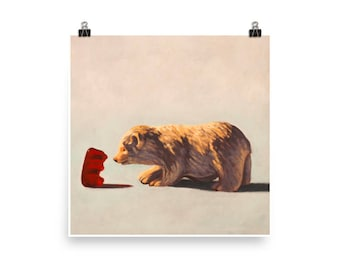 Gummy and Bear - Art print from original painting, whimsical, kitschy, fun, realism, friendship, nostalgia, cute, playful, sweet, kids, love