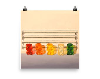 Gummy Line Up - Art Print from original painting, art, crime, humor, kitsch, realism, funny, nostalgia, playful, fun, cute, suspects, silly