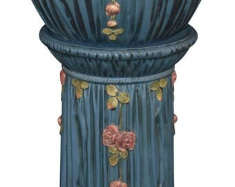 Weller Pottery Blue Drapery Jardiniere And Pedestal