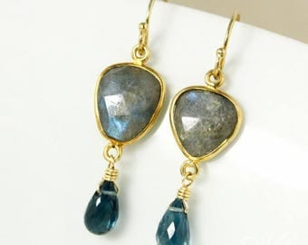 ON SALE Gold Free Form Blue Labradorite & London Blue Topaz Earrings - 14Kt Gold Filled