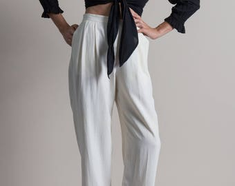 Vintage 90s Ivory White Silk Trousers | M
