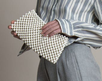 Vintage 50s White Beaded Clutch