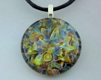 Blown Glass Pendant ~ Burst of Color ~ Borosilicate Pendant ~ Lampwork Necklace ~ Hand Blown Glass ~ Lampwork Focal Bead ~ (BCS6187b)