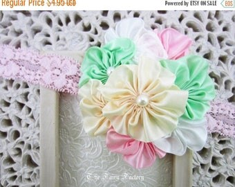 Satin Flower Headband, Mint Green Pink Ivory & White Satin Flowers w/ Pearls Lace Headband, Baby Toddler Child Girls Headband, DISCONTINUED