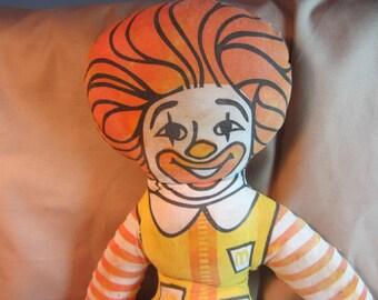 Original Ronald McDonald Stuffed Toy, Fabric Ronald McDonald, Restaurant Advertising Promotional Doll, McDonalds Toy, McDonalds Promotion