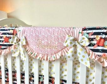 Blush Pineapples Crib Rail Cover, Floral Stripe Crib Rail Cover, Gold Dot Rail Guard, Coral Girl Crib Rail Cover, Crib Bedding A La Carte