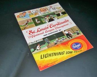 St.Louis Cardinals Baseball Scorecard 1969