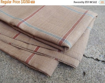 SALE SALE SALE Vintage Fabric Wool Suiting Large Plaid Camel Sea Green Brown Sewing Supplies
