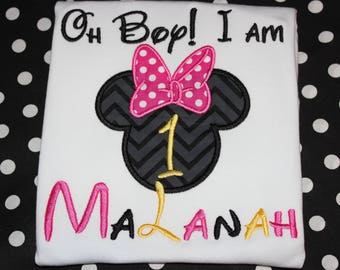 Minnie Mouse 1st birthday shirt - baby bodysuit, tshirt, or dress- you pick fabric- Minnie or Mickey Mouse