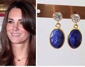 Kate Middleton Genuine Sapphire 14k Gold Cubic Zirconia Post Drop Oval Gemstone Earrings