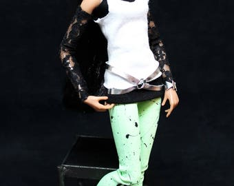 Neon Nights 80s outfit OOAK green for Integrity Color Infusion or Jem Doll - by HazelStreetDezigns