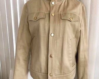 Great Vintage Men's Designer Ermenegildo Zegna Retro Denim Jacket in Sand -- Size M