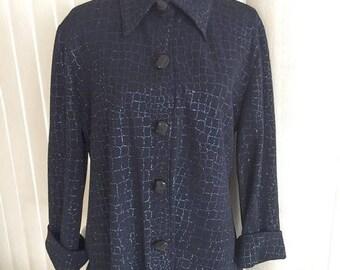 40% OFF Christmas in July Vintage Blue Black Lurex Swing Jacket -- Size M-L