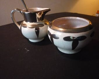Sugar Bowl and Creamer Lancaster Sandlandware silver leaf lusterware mini set -  Mint Condition - 1940s charm