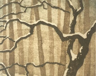 Snow No. 3 - Woodblock Reduction Print - OOAK Original Handpulled Fine Art Print Moku Hanga Landscape -matted and ready to frame