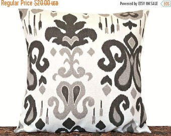 Christmas in July Sale Gray Ikat Pillow Cover Cushion Black White Decorative 16x16