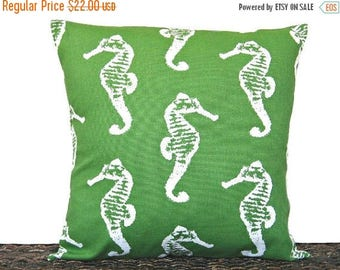 Christmas in July Sale Seahorse Pillow Cover Cushion Kelly Green White Coastal Beach Seaside Decorative 18x18