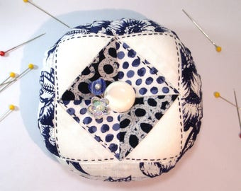 Pincushion, Round  Patchwork Pincushion, Crisp Indigo Blue and Bright White, Ready to Ship