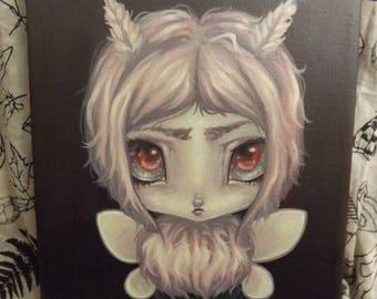 Original moth Fairy lowbrow art painting gothic pop surreal