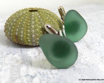 Organic bottle green Sea Glass cufflinks for him or her with Genuine Natural Amalfi Sea Glass / nr89